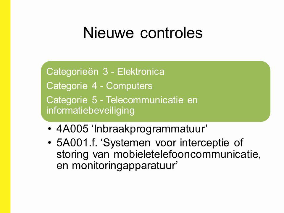 Nieuwe controles 4A005 'Inbraakprogrammatuur'