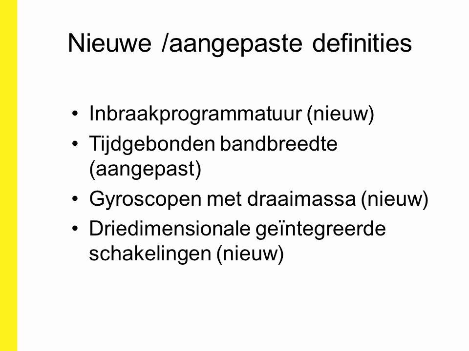 Nieuwe /aangepaste definities