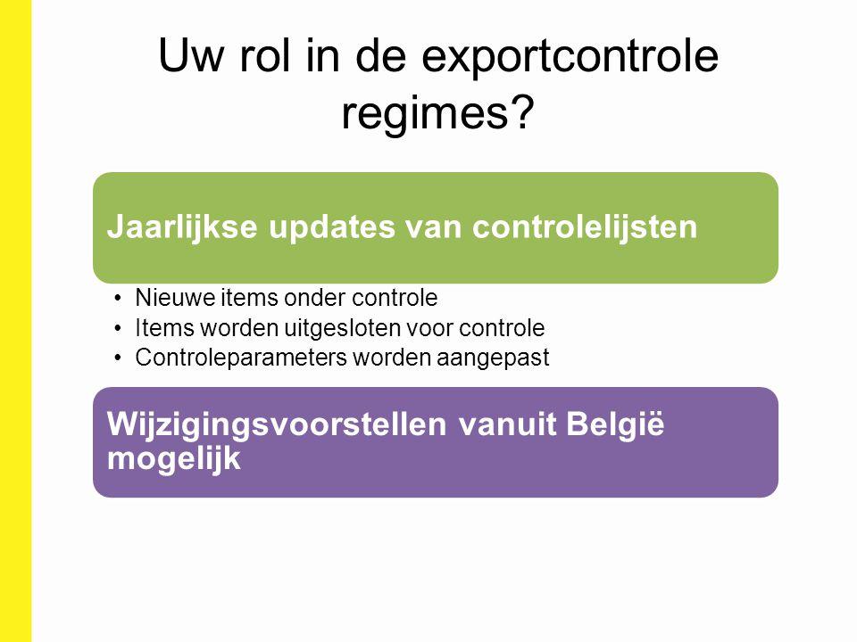 Uw rol in de exportcontrole regimes