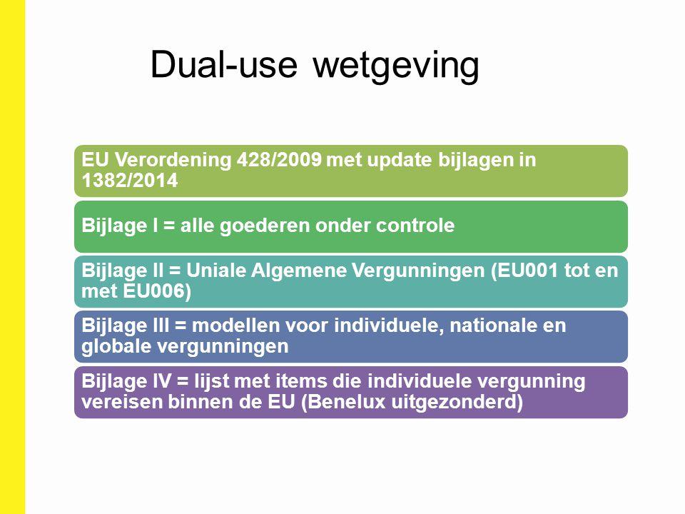 Dual-use wetgeving EU Verordening 428/2009 met update bijlagen in 1382/2014. Bijlage I = alle goederen onder controle.