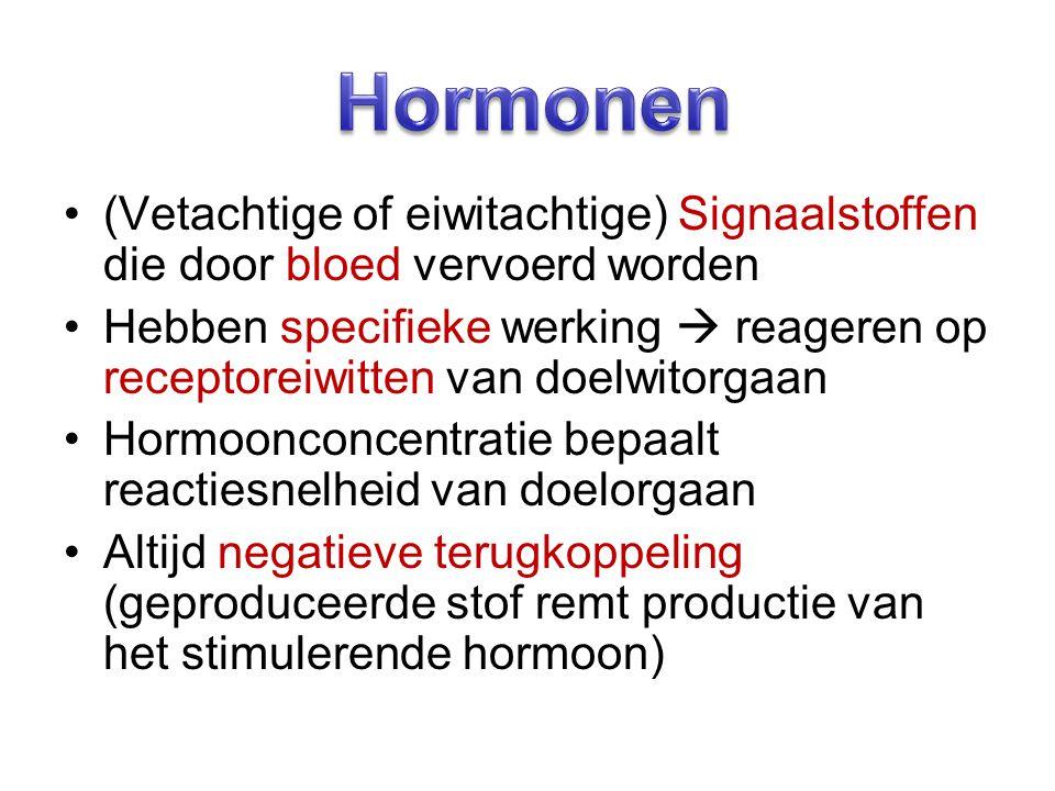 Hormonen (Vetachtige of eiwitachtige) Signaalstoffen die door bloed vervoerd worden.