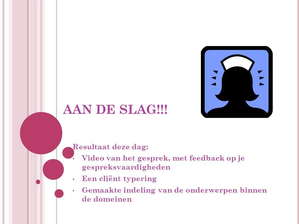 AAN DE SLAG!!! Resultaat deze dag: