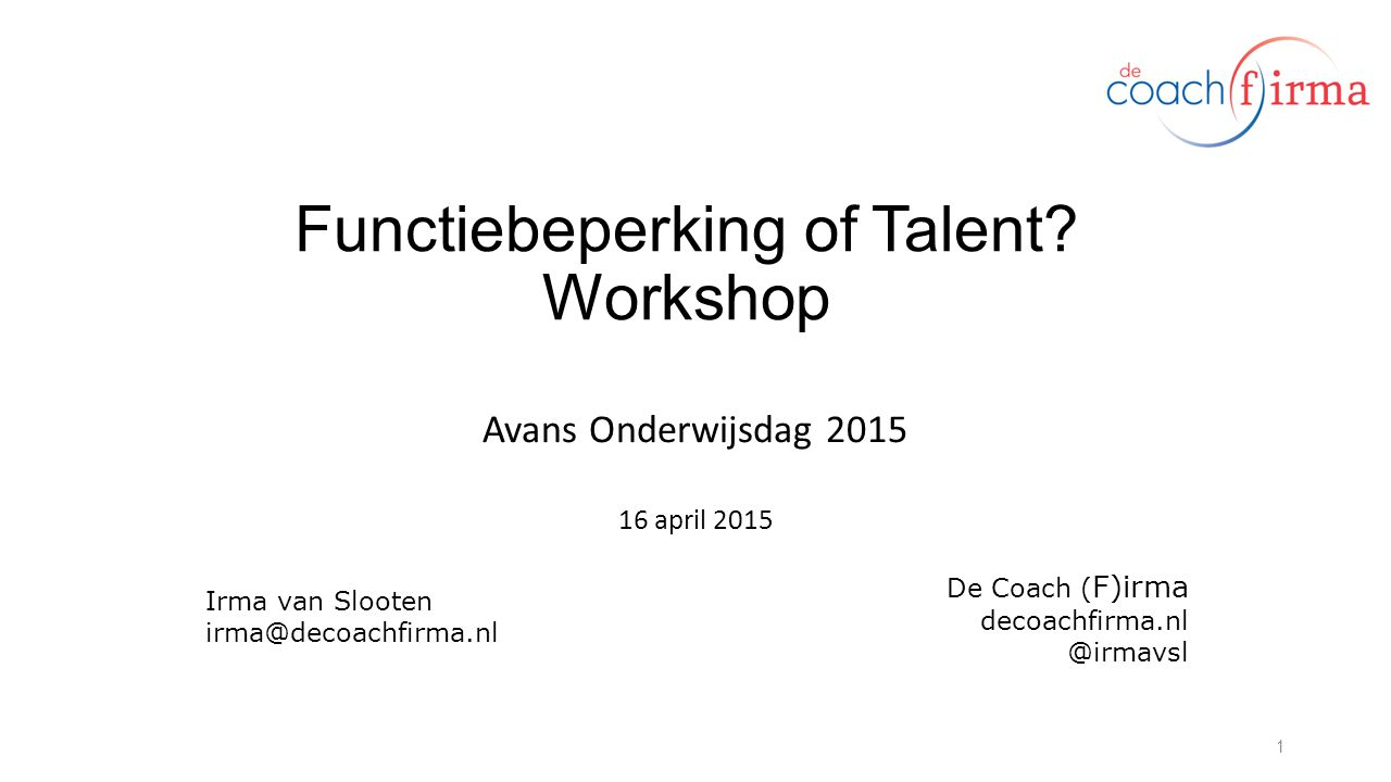Functiebeperking of Talent Workshop