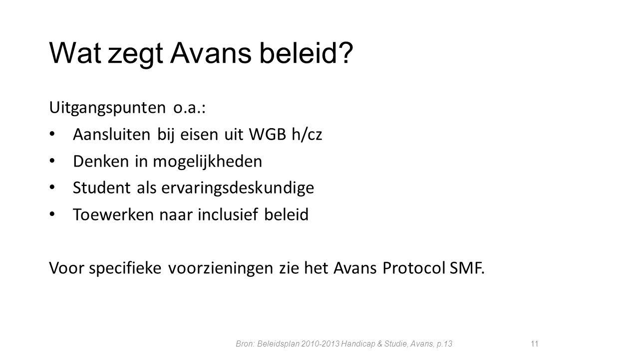 Bron: Beleidsplan 2010-2013 Handicap & Studie, Avans, p.13