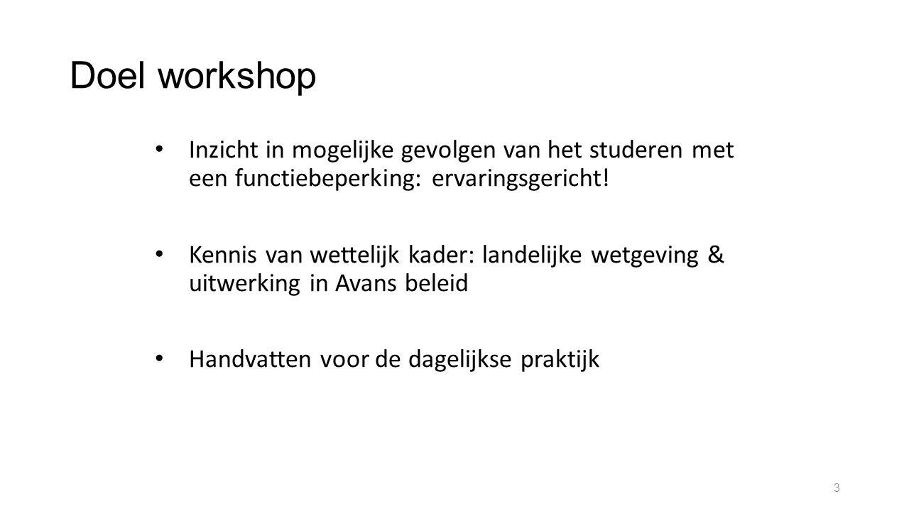 Doel workshop Inzicht in mogelijke gevolgen van het studeren met een functiebeperking: ervaringsgericht!