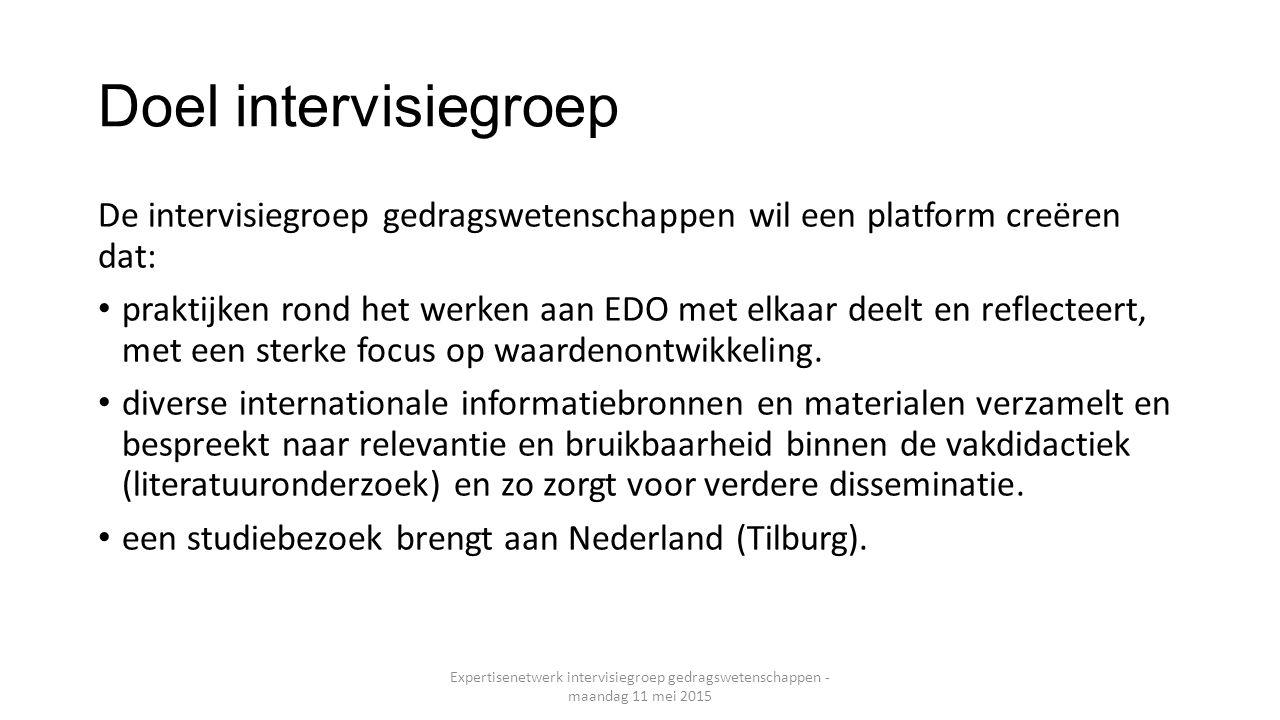 Doel intervisiegroep De intervisiegroep gedragswetenschappen wil een platform creëren dat:
