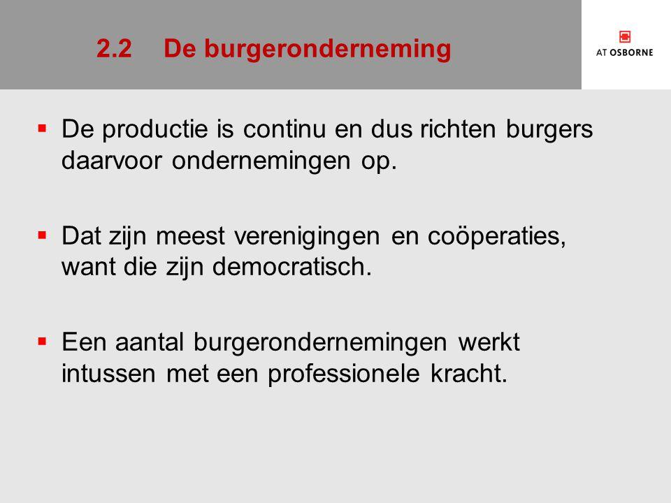 2.2 De burgeronderneming De productie is continu en dus richten burgers daarvoor ondernemingen op.