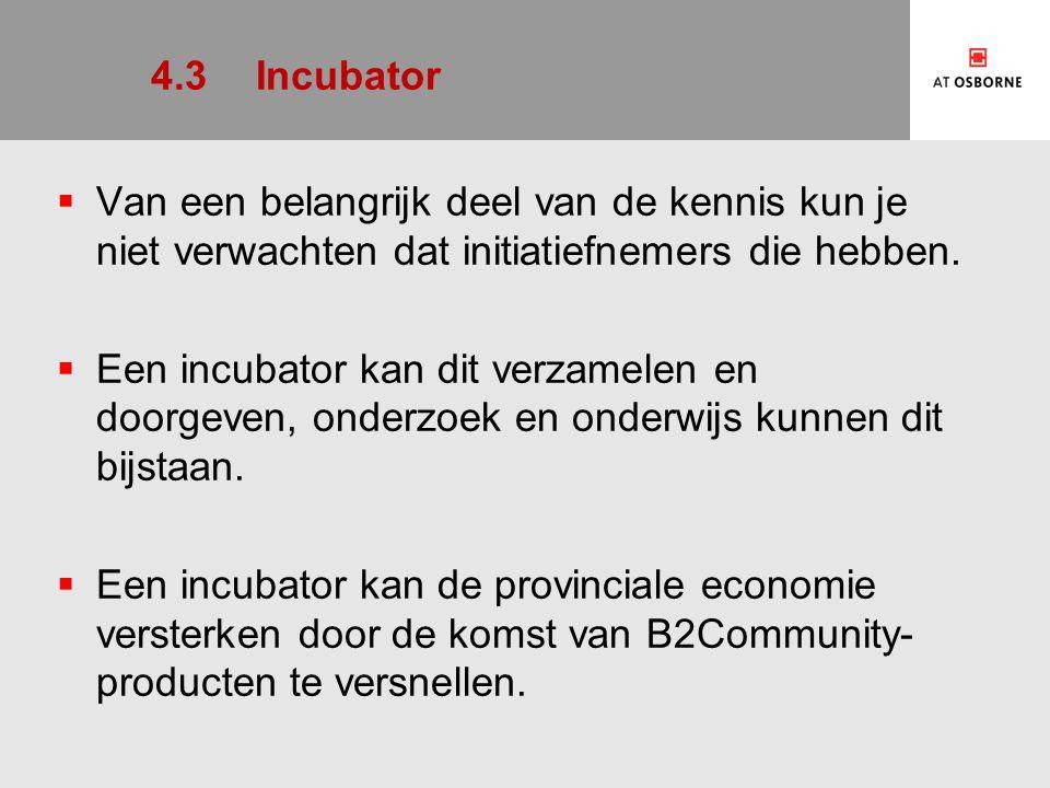 4.3 Incubator Van een belangrijk deel van de kennis kun je niet verwachten dat initiatiefnemers die hebben.