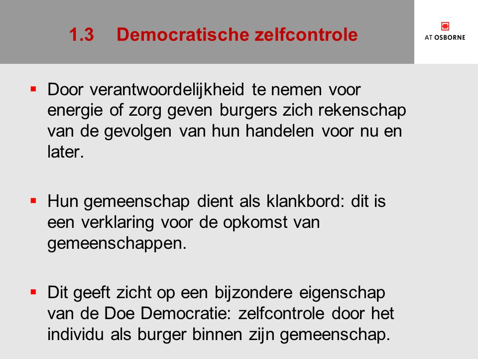 1.3 Democratische zelfcontrole