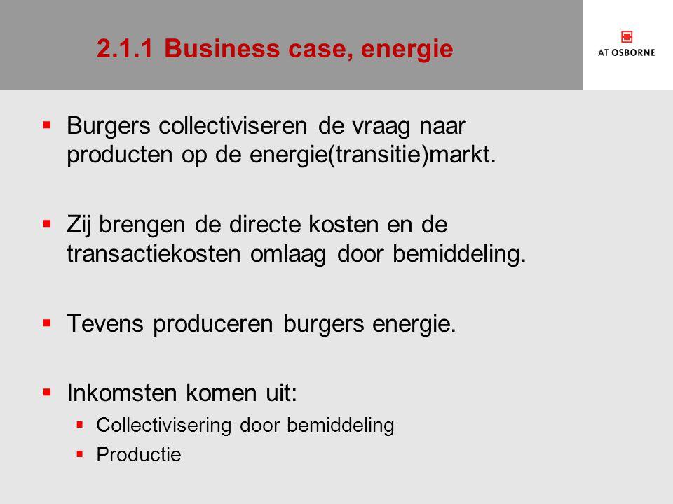 2.1.1 Business case, energie Burgers collectiviseren de vraag naar producten op de energie(transitie)markt.