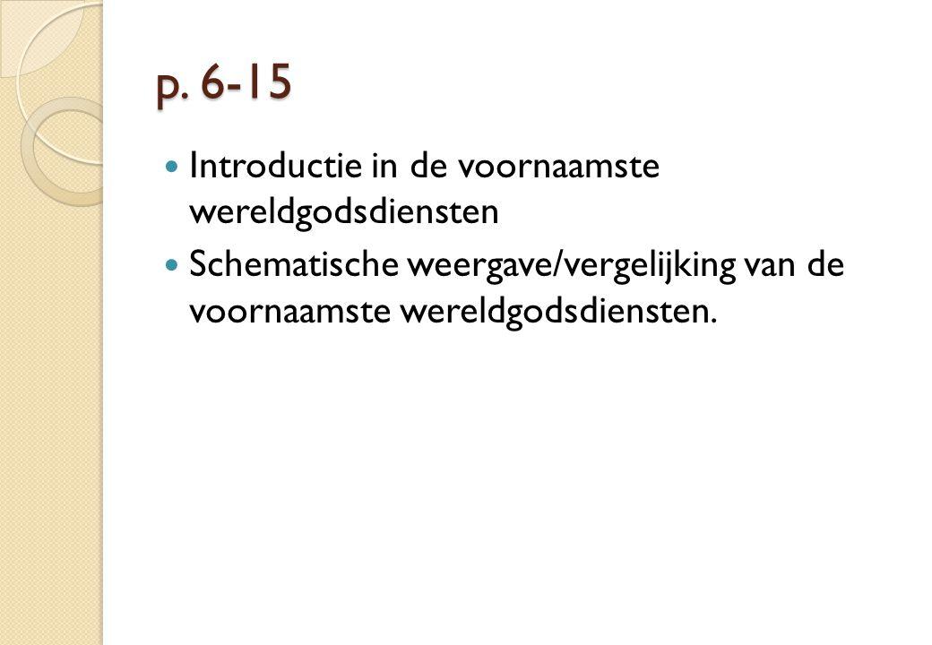 p. 6-15 Introductie in de voornaamste wereldgodsdiensten