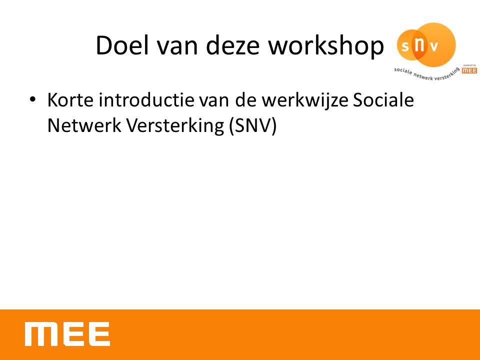 Doel van deze workshop Korte introductie van de werkwijze Sociale Netwerk Versterking (SNV)