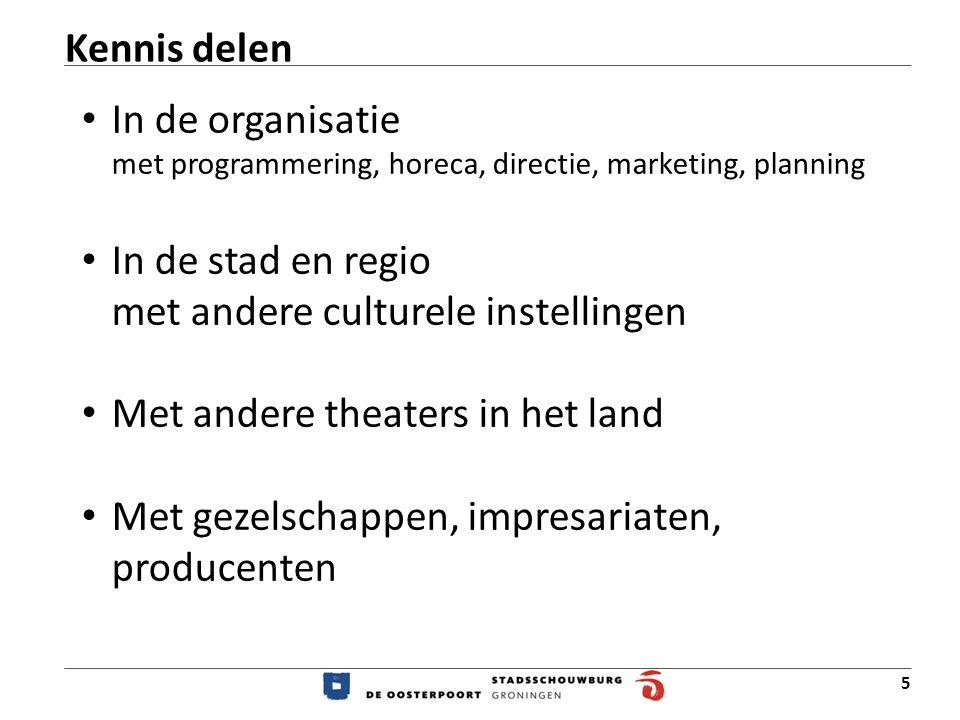Kennis delen In de organisatie met programmering, horeca, directie, marketing, planning. In de stad en regio met andere culturele instellingen.