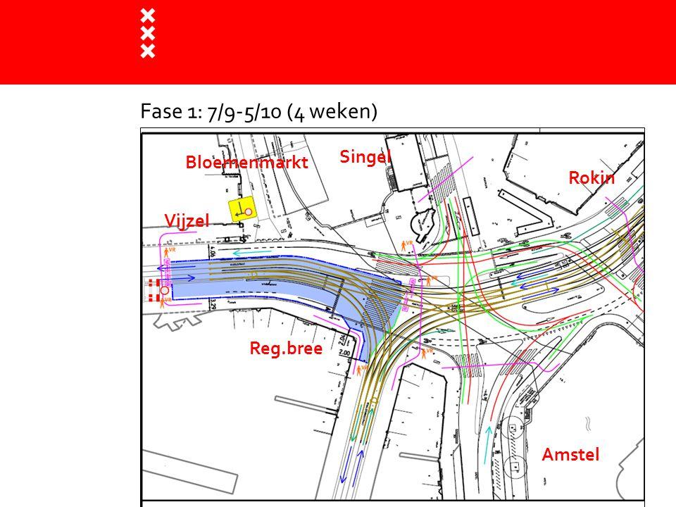Fase 1: 7/9-5/10 (4 weken) Singel Bloemenmarkt Rokin Vijzel Reg.bree