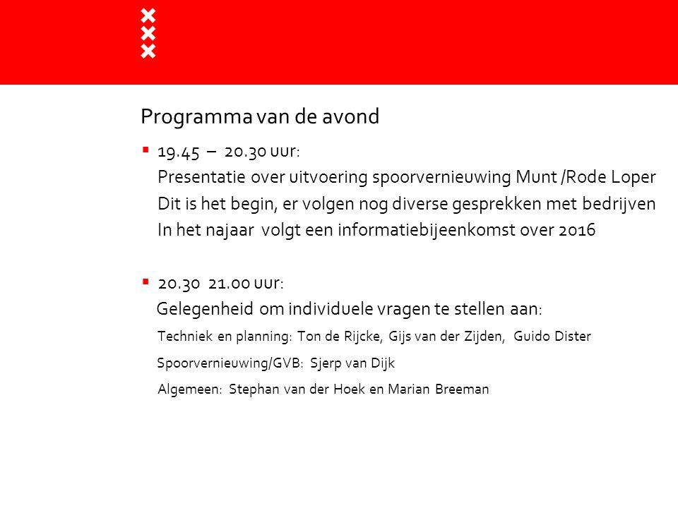 Programma van de avond 19.45 – 20.30 uur: