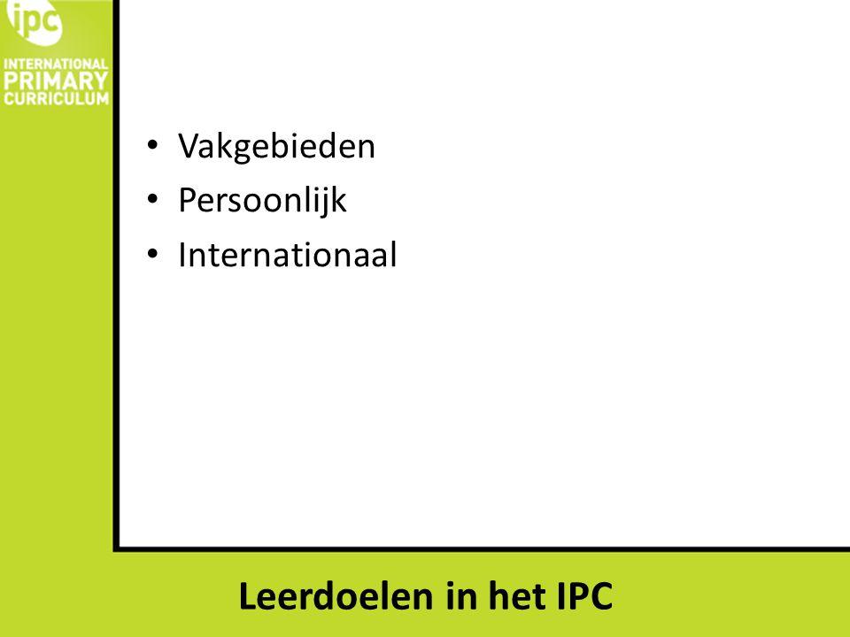 Vakgebieden Persoonlijk Internationaal Leerdoelen in het IPC