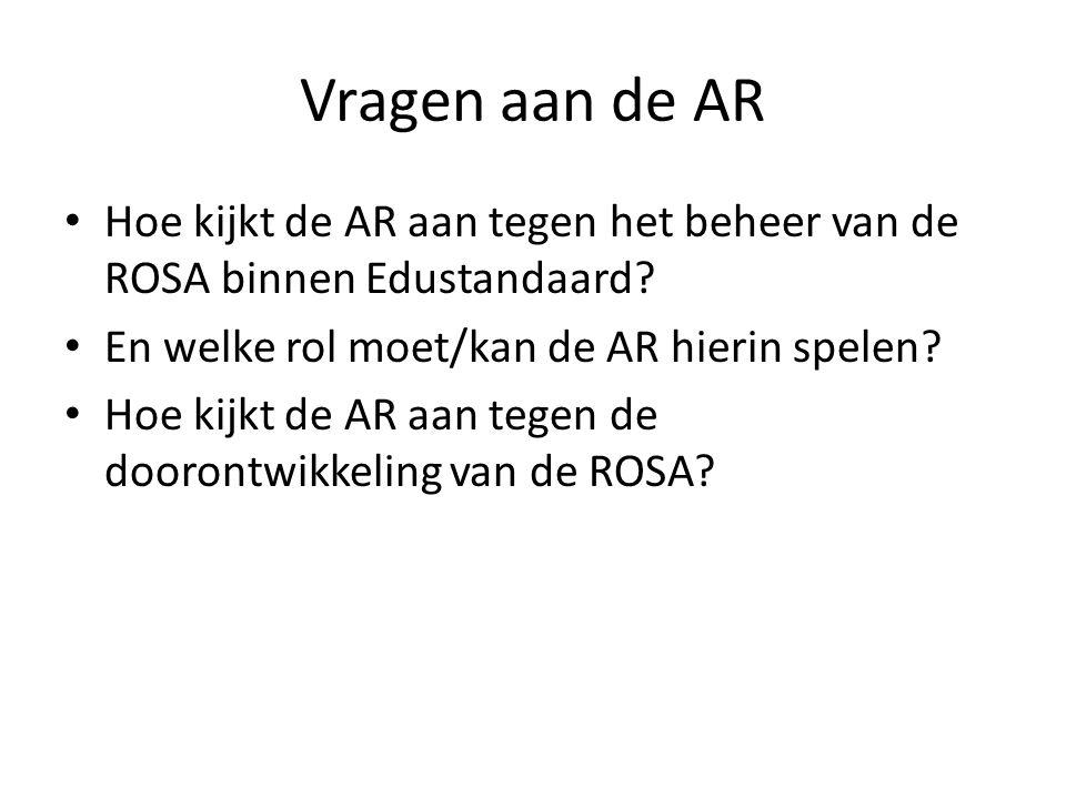 Vragen aan de AR Hoe kijkt de AR aan tegen het beheer van de ROSA binnen Edustandaard En welke rol moet/kan de AR hierin spelen