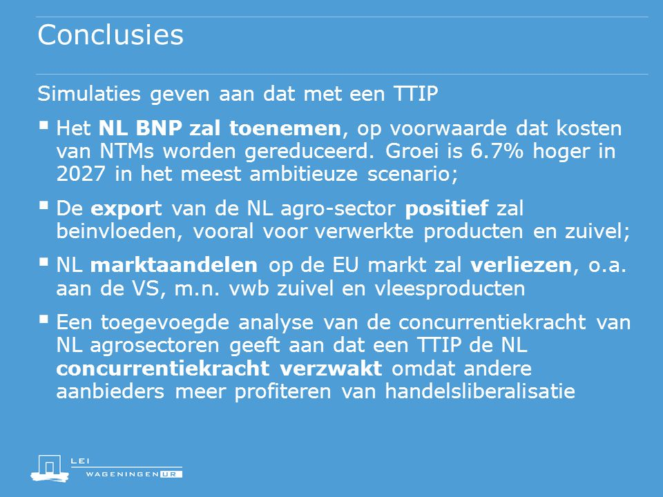 Conclusies Simulaties geven aan dat met een TTIP