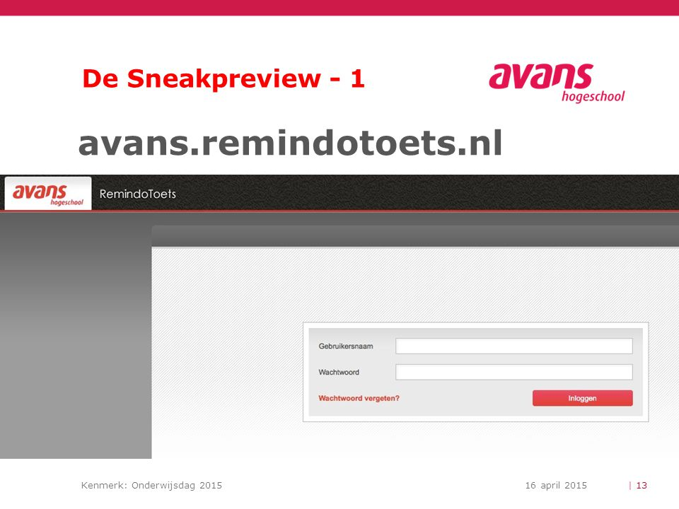 De Sneakpreview - 1 avans.remindotoets.nl