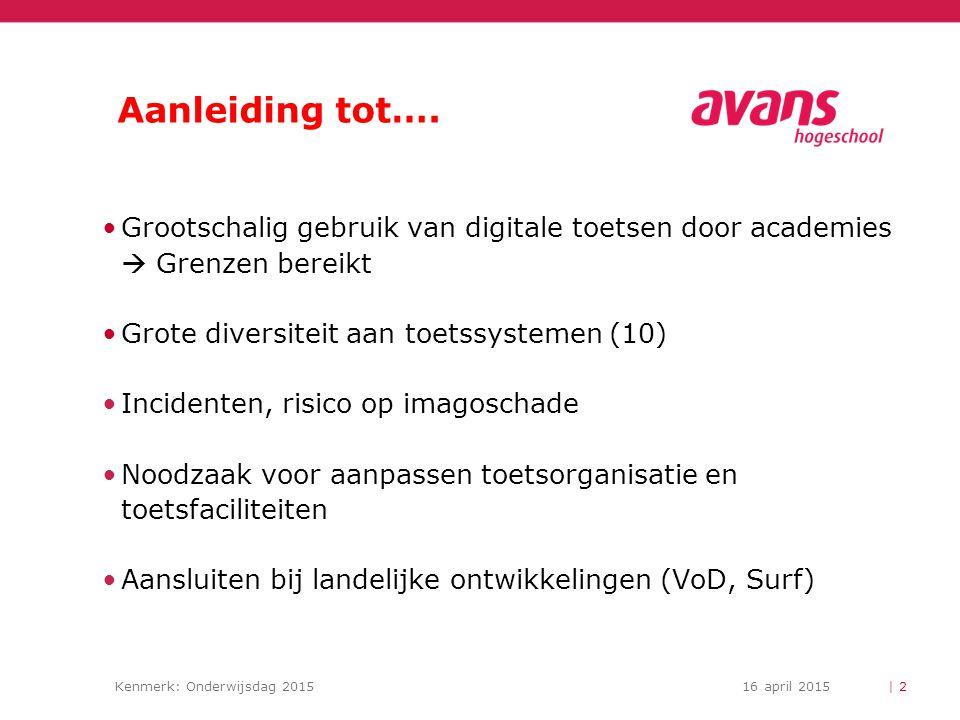 Aanleiding tot…. Grootschalig gebruik van digitale toetsen door academies  Grenzen bereikt. Grote diversiteit aan toetssystemen (10)