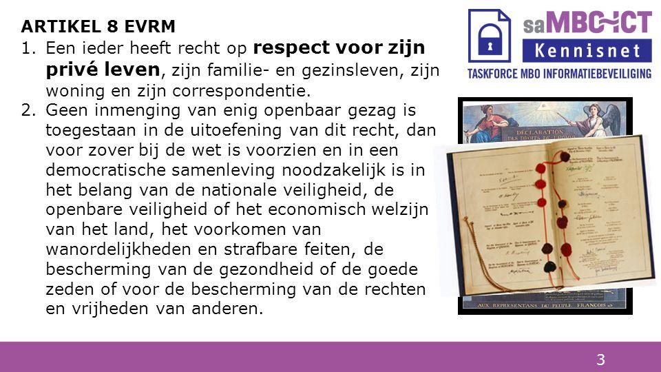 ARTIKEL 8 EVRM Een ieder heeft recht op respect voor zijn privé leven, zijn familie- en gezinsleven, zijn woning en zijn correspondentie.
