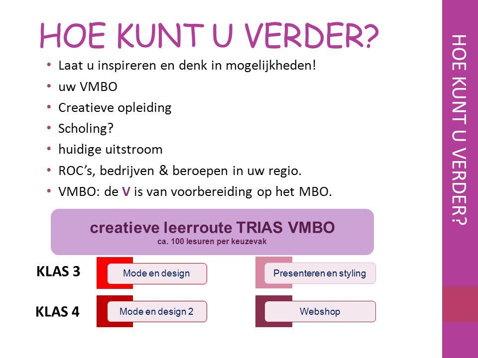 creatieve leerroute TRIAS VMBO ca. 100 lesuren per keuzevak