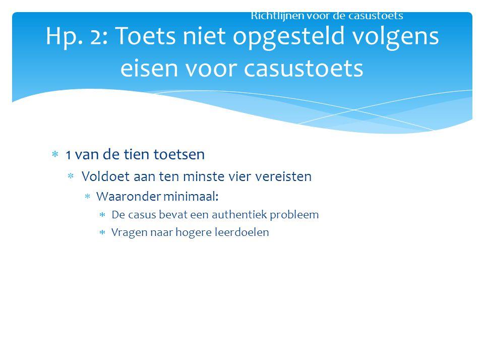 Hp. 2: Toets niet opgesteld volgens eisen voor casustoets