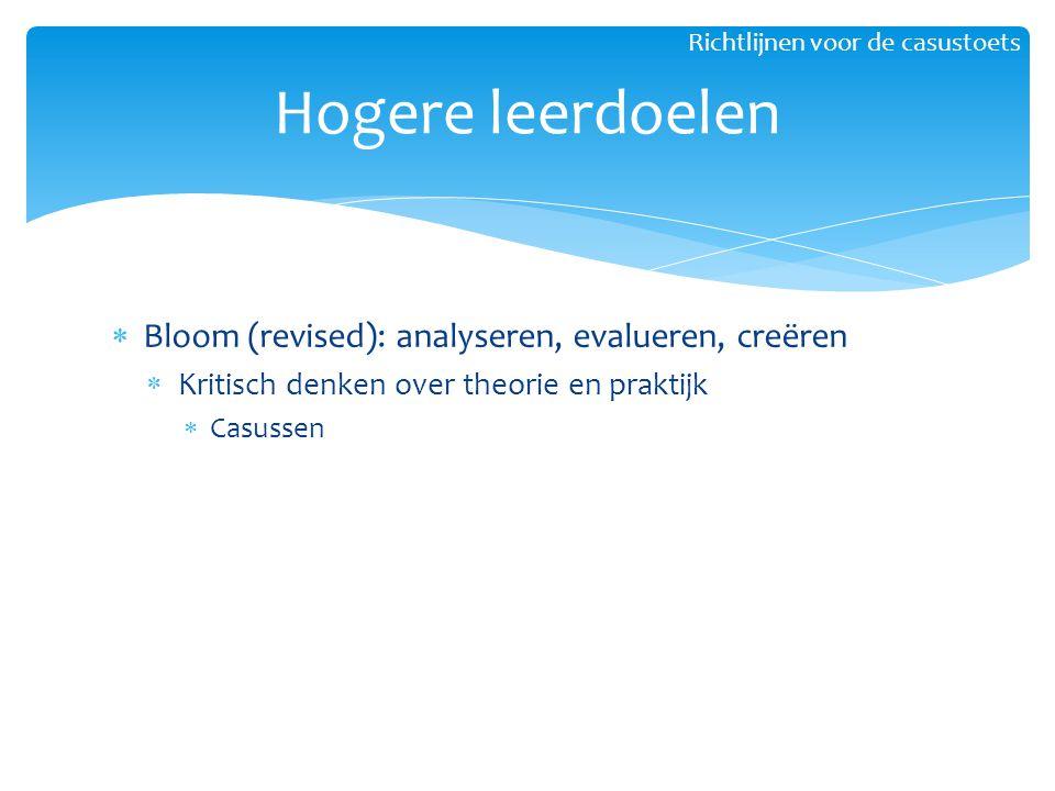 Hogere leerdoelen Bloom (revised): analyseren, evalueren, creëren