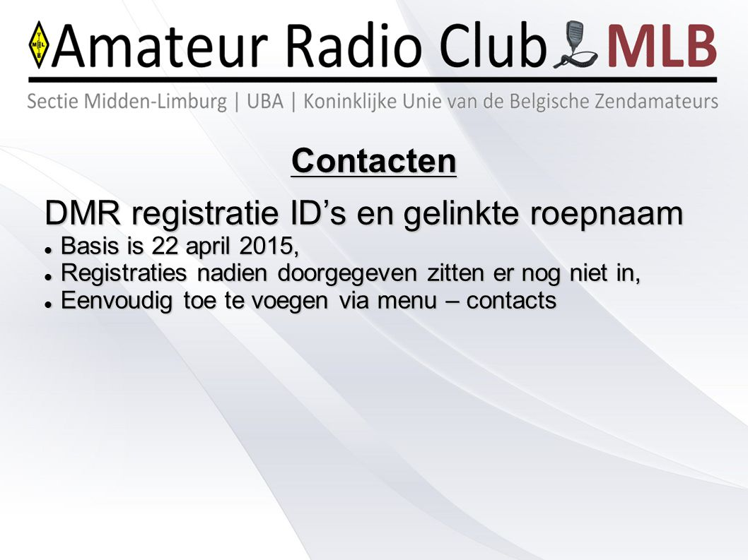 DMR registratie ID's en gelinkte roepnaam