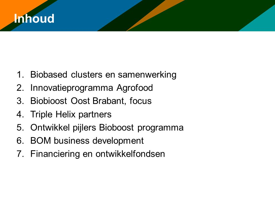 Inhoud Biobased clusters en samenwerking Innovatieprogramma Agrofood