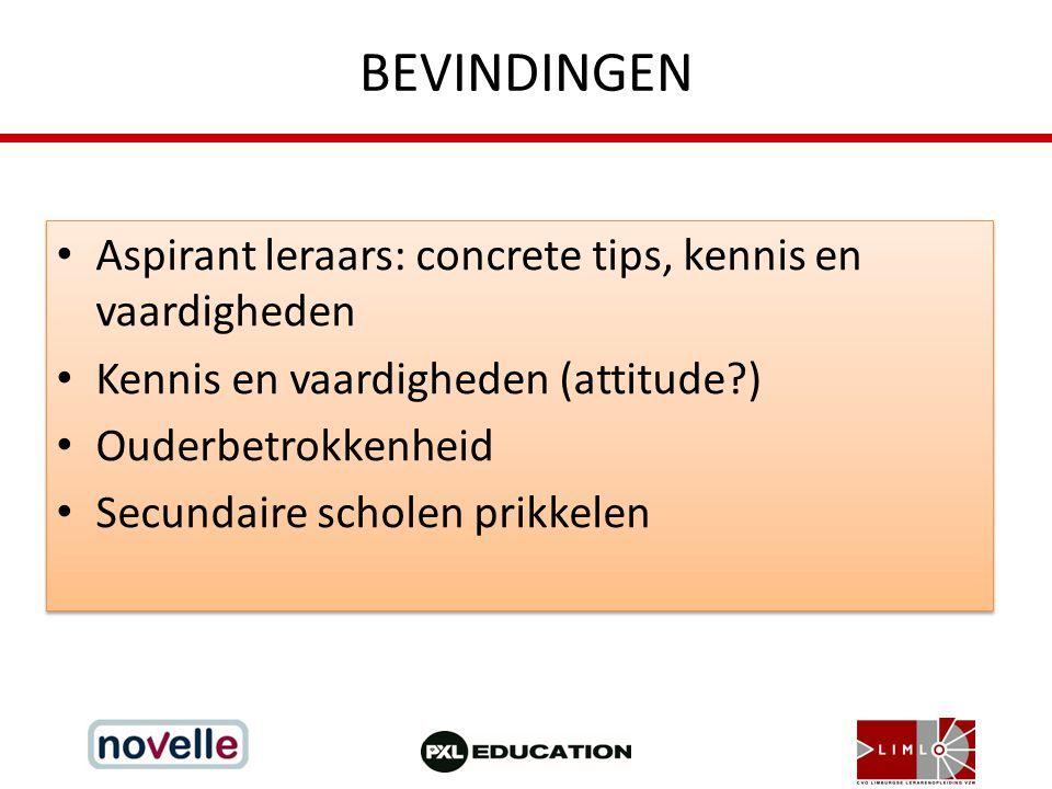 BEVINDINGEN Aspirant leraars: concrete tips, kennis en vaardigheden