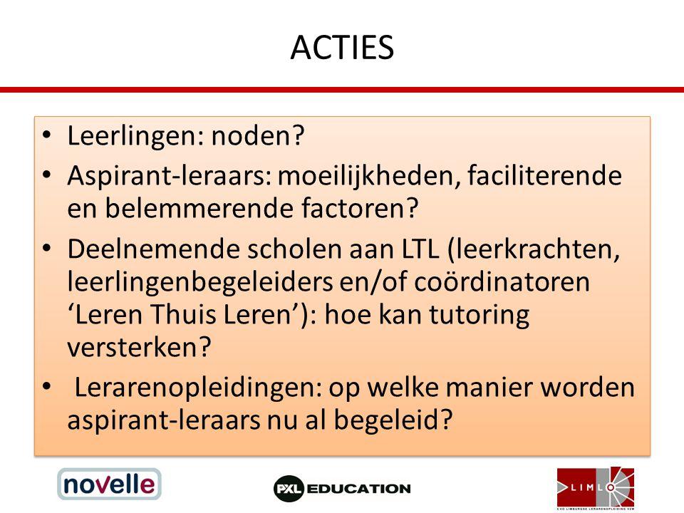 ACTIES Leerlingen: noden