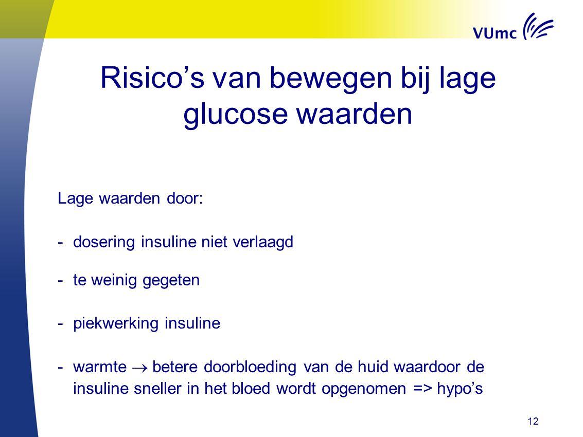 Risico's van bewegen bij lage glucose waarden