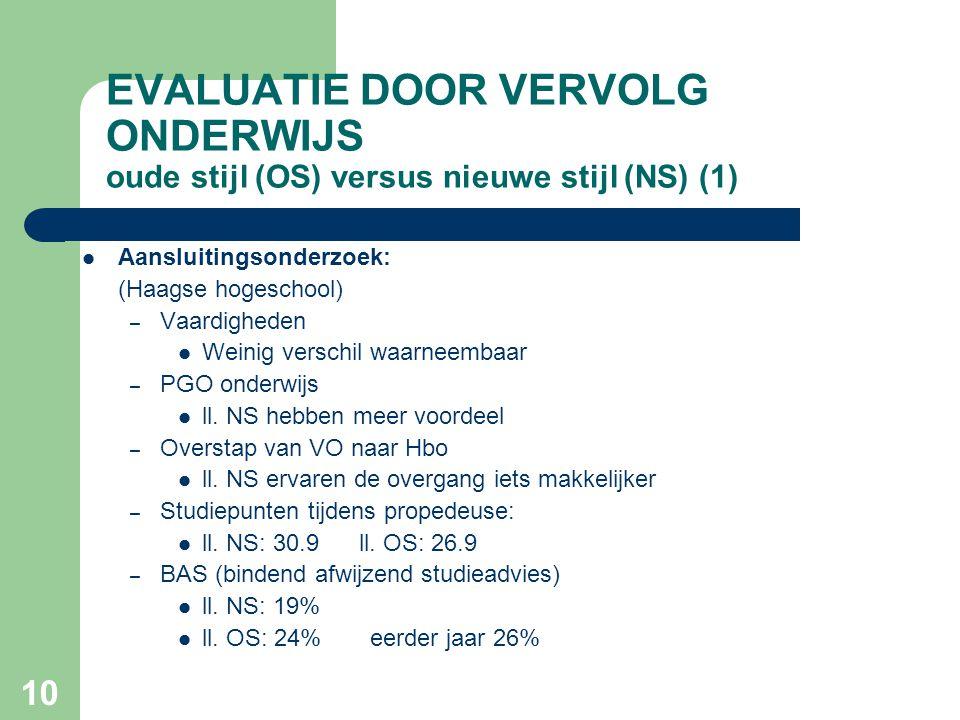 EVALUATIE DOOR VERVOLG ONDERWIJS oude stijl (OS) versus nieuwe stijl (NS) (1)