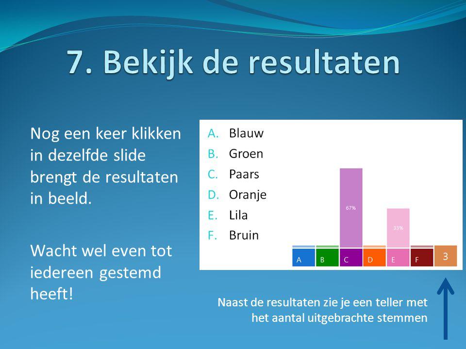 7. Bekijk de resultaten Nog een keer klikken in dezelfde slide brengt de resultaten in beeld. Wacht wel even tot iedereen gestemd heeft!