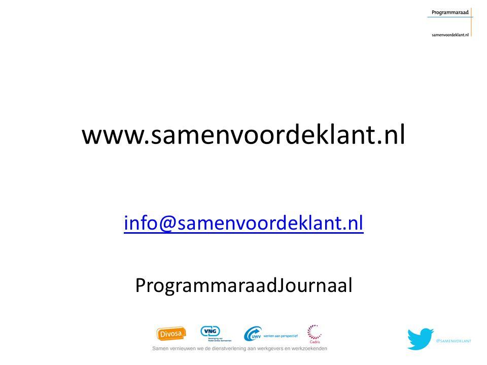info@samenvoordeklant.nl ProgrammaraadJournaal