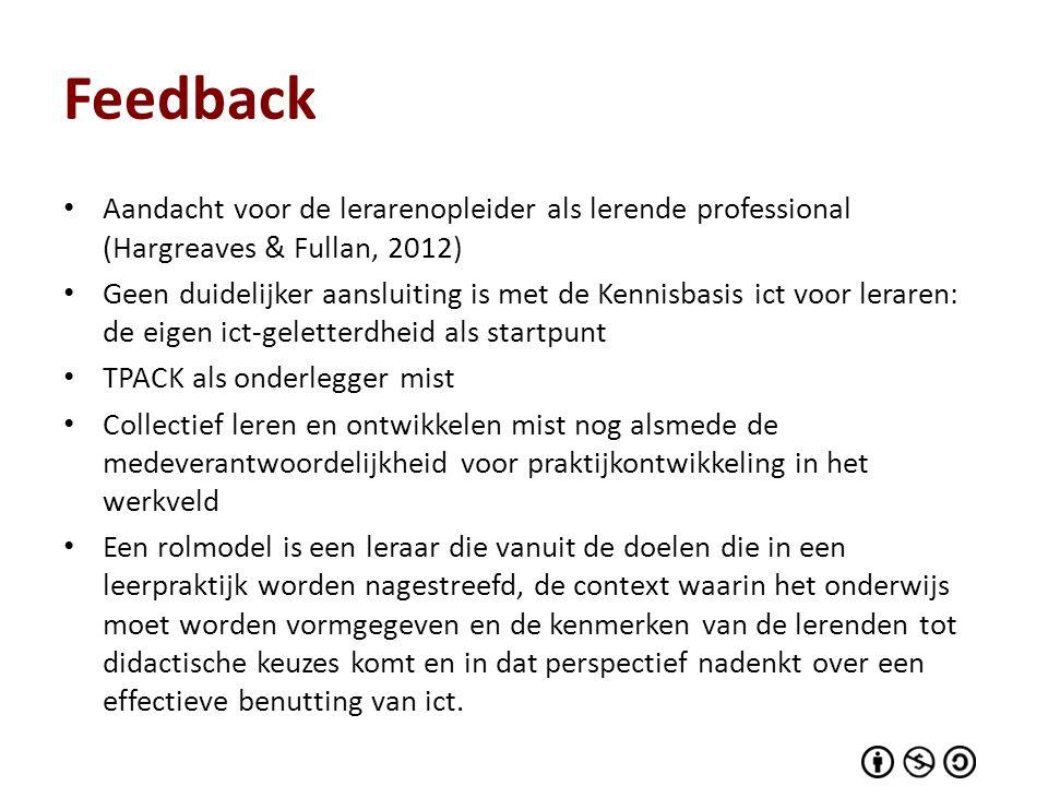 Feedback Aandacht voor de lerarenopleider als lerende professional (Hargreaves & Fullan, 2012)