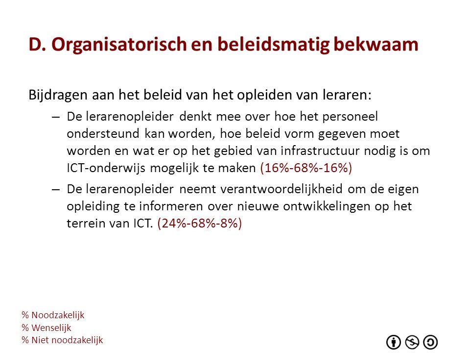 D. Organisatorisch en beleidsmatig bekwaam