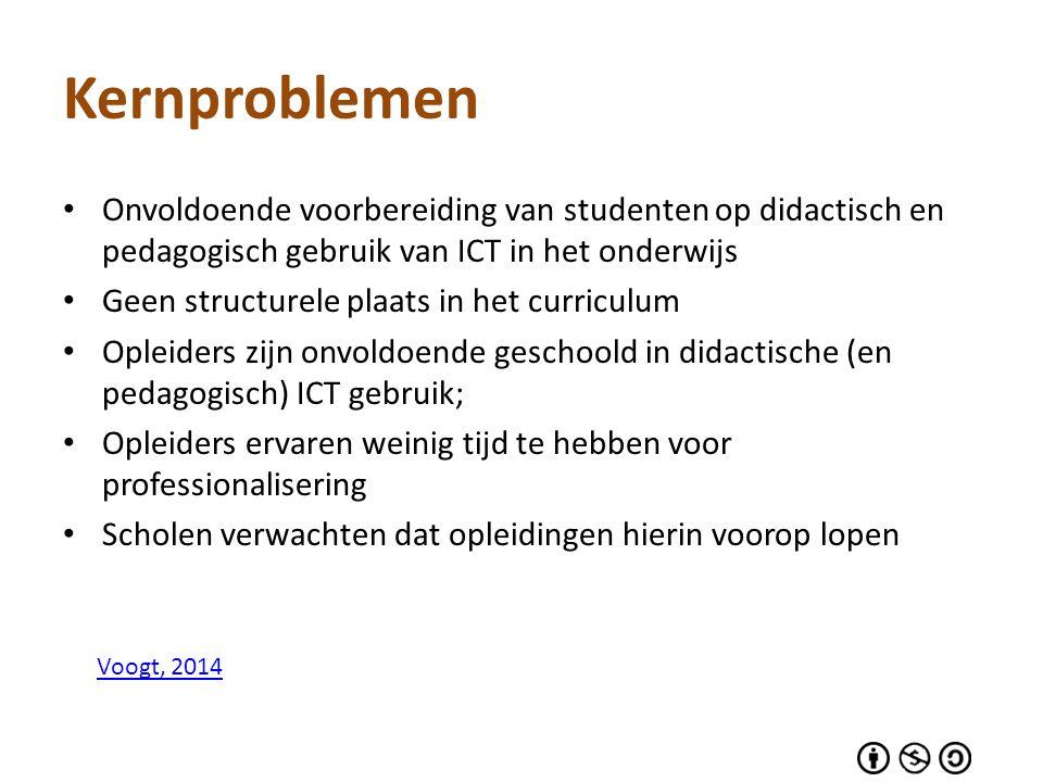 Kernproblemen Onvoldoende voorbereiding van studenten op didactisch en pedagogisch gebruik van ICT in het onderwijs.