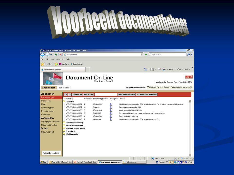 Voorbeeld documentbeheer
