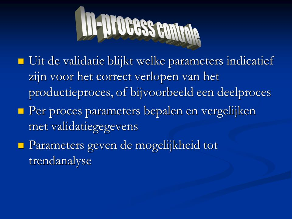 In-process controle