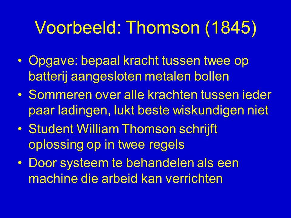 Voorbeeld: Thomson (1845) Opgave: bepaal kracht tussen twee op batterij aangesloten metalen bollen.