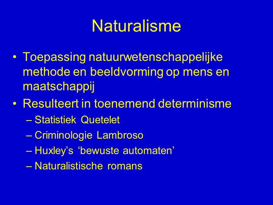 Naturalisme Toepassing natuurwetenschappelijke methode en beeldvorming op mens en maatschappij. Resulteert in toenemend determinisme.