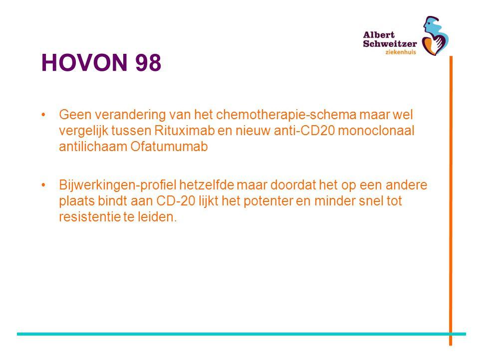 HOVON 98 Geen verandering van het chemotherapie-schema maar wel vergelijk tussen Rituximab en nieuw anti-CD20 monoclonaal antilichaam Ofatumumab.