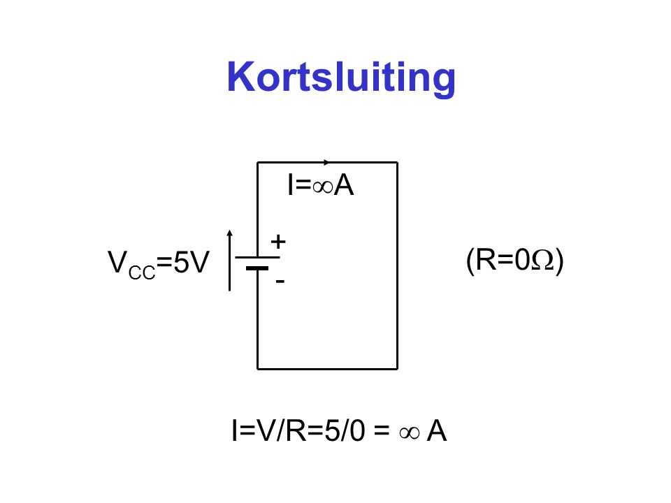 Kortsluiting I=A + (R=0) VCC=5V - I=V/R=5/0 =  A