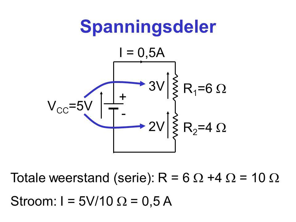 Spanningsdeler I = 0,5A 3V R1=6  + VCC=5V - 2V R2=4 