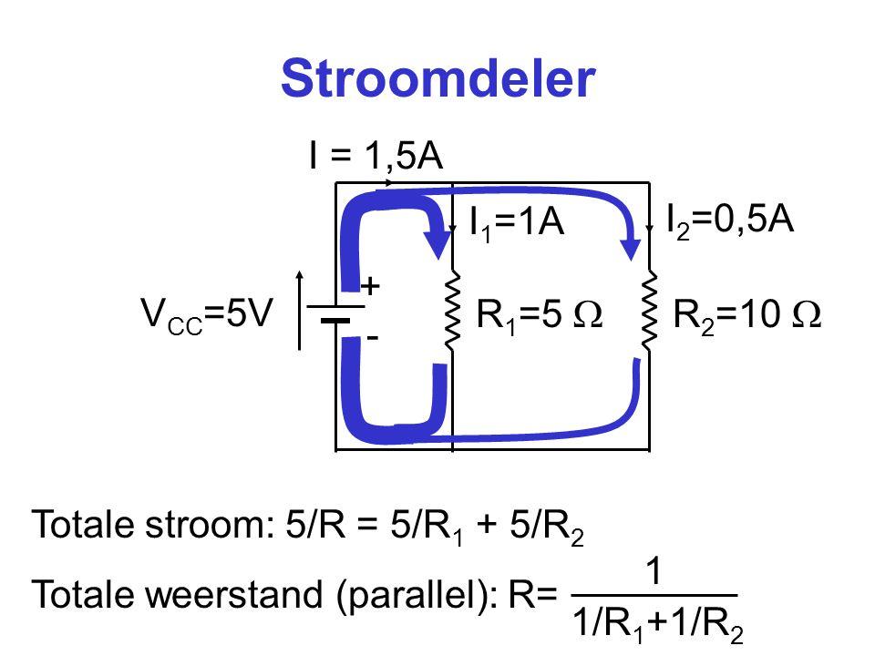 Stroomdeler I = 1,5A I1=1A I2=0,5A + VCC=5V R1=5  R2=10  -