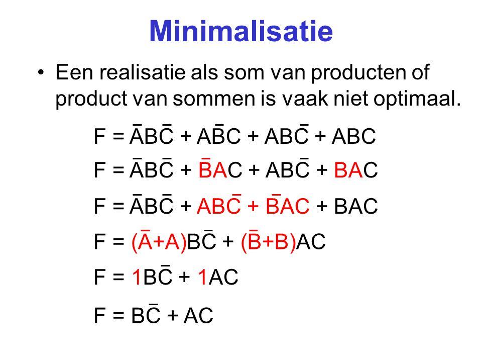 Minimalisatie Een realisatie als som van producten of product van sommen is vaak niet optimaal. F = ABC + ABC + ABC + ABC.