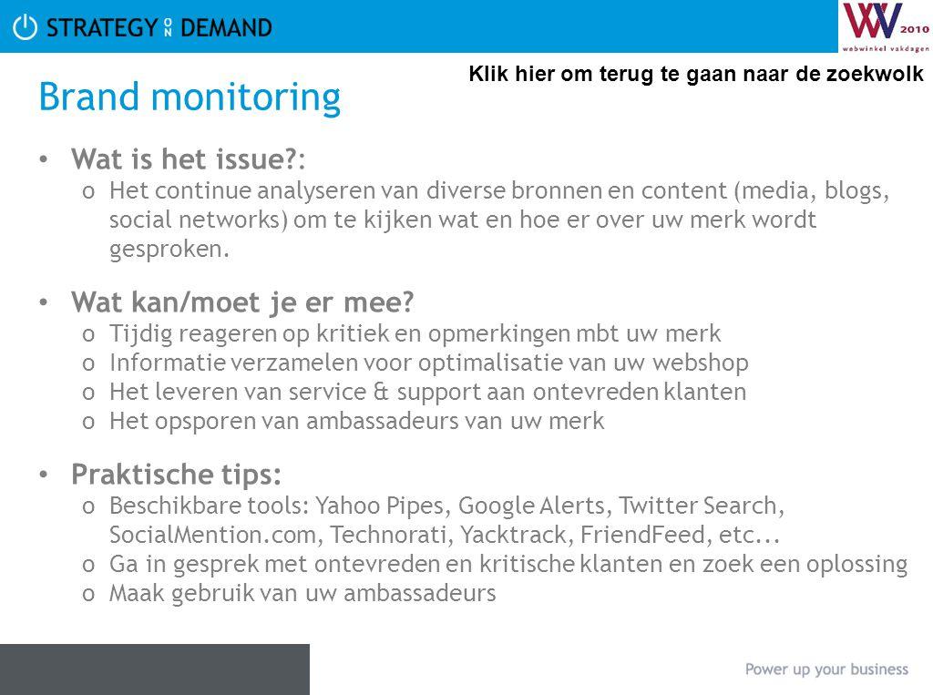 Brand monitoring Wat is het issue : Wat kan/moet je er mee