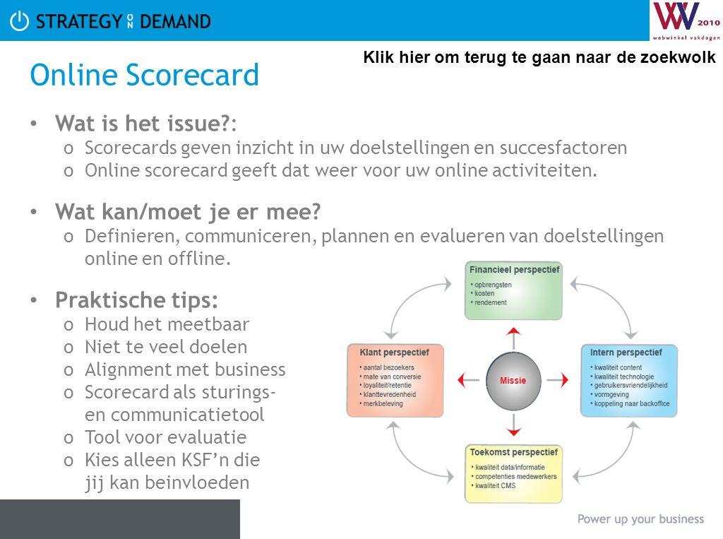 Online Scorecard Wat is het issue : Wat kan/moet je er mee